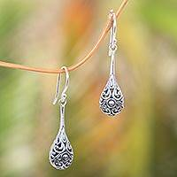 Sterling silver dangle earrings, 'Maraca' - Sterling Silver Handmade Dangle Earrings from Bali