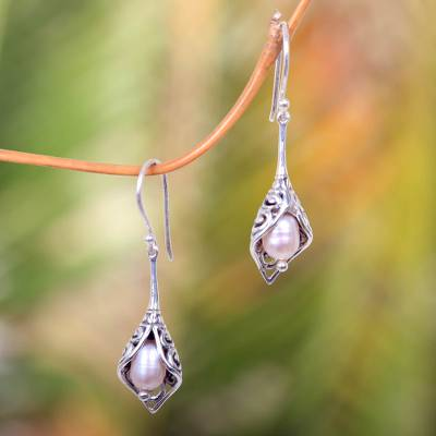 Cultured pearl dangle earrings, 'White Calla Lily' - Balinese Cultured Pearl Earrings Crafted of Sterling Silver