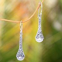 Cultured pearl dangle earrings, 'White Honeysuckle' - Silver 925 Elongated Balinese Earrings with Cultured Pearl