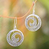 Sterling silver dangle earrings, 'Ferns in Moonlight' - Original Balinese Earrings Handcrafted of Sterling Silver