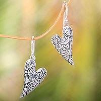 Sterling silver dangle earrings, 'Dove Wings' - Heart-Shaped Sterling Silver Dangle Earrings from Bali
