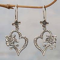 Sterling Silver Dangle Earrings Hibiscus Bloom (indonesia)