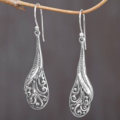 Sterling silver dangle earrings, 'Floating Peacock Feathers' - Hand Made Sterling Silver Feather Dangle Earrings Indonesia