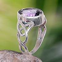 Amethyst cocktail ring, 'Lavender Moon' - Amethyst Sterling Silver Ring Handmade in Indonesia