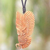 Bone pendant necklace, 'Guardian Owl' - Owl Bone Pendant Necklace with Leather Cord from Bali