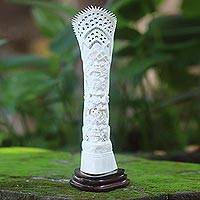 Bone statuette, 'Boma' - Handcrafted White Cow Bone Statuette of Boma and Krishna