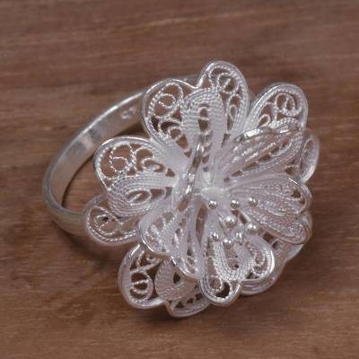 Sterling silver filigree cocktail ring, 'Sterling Jasmine' - Hand Made Sterling Silver Cocktail Ring Floral Indonesia