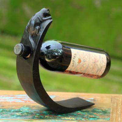 Wood bottle holder, 'Black Lizard' - Hand Crafted Wood Bottle Holder with Lizard from Indonesia