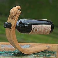 Wood wine bottle holder, 'Brown Balinese Turtle' - Balinese Sea Turtle Brown Wood Wine Bottle Holder