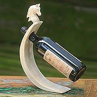 Wood bottle holder, 'White Horse' - Hand-Crafted White Wood Bottle Holder with Horse Motif