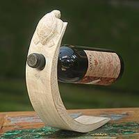 Wood wine bottle holder, 'White Turtle' - Wood Bottle Holder with White Finish and Turtle Motif