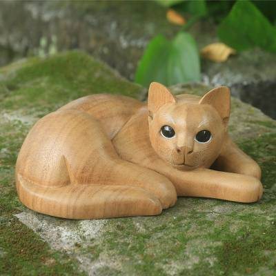Wood sculpture, 'Marmalade Tabby' - Hand Carved and Painted Yellow Tabby Cat Sculpture in Wood
