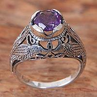 Amethyst cocktail ring, 'Starling Romance' - Bird Theme Amethyst and Sterling Silver Balinese Ring