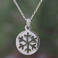 Sterling silver pendant necklace, 'Gleaming Snowflake' - Sterling Silver Snowflake Pendant Necklace from Bali