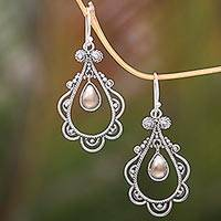 Gold accented sterling silver dangle earrings, 'Golden Eyes' (Indonesia)