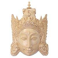 Wood mask, 'Rama' - Hand Carved Wood Mask of Rama Floral Motif from Indonesia