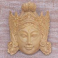 Wood mask, 'Sita' - Hand Carved Wood Mask of Sita Floral Motif from Indonesia