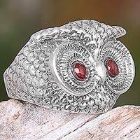 Garnet cocktail ring, 'Owl Eyes' - Handmade Balinese Sterling Silver Owl Ring with Garnet Eyes