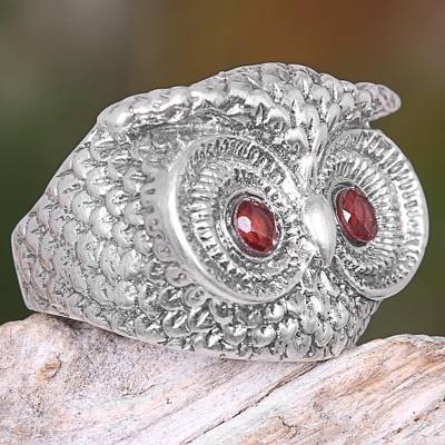 silver ring collections off credit - Handmade Balinese Sterling Silver Owl Ring with Garnet Eyes