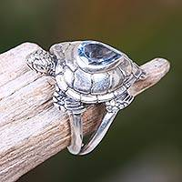 Blue topaz cocktail ring, 'Turtle Empathy' - 925 Sterling Silver Animal Theme Turtle Ring with Blue Topaz