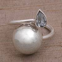 Blue topaz wrap ring, 'Moonlight Teardrop' - Sterling Silver Blue Topaz Wrap Ring from Indonesia