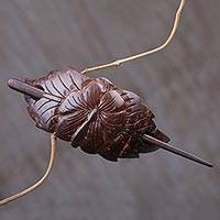 Coconut stick barrette, 'Chinese Hibiscus' - Hand Carved Coconut Shell Stick Barrette from Indonesia