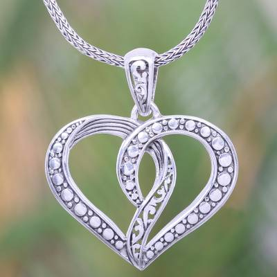 Sterling silver pendant necklace, 'Unity of the Heart' - Romantic Balinese Heart Necklace Crafted of Sterling Silver