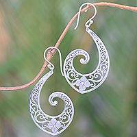Sterling silver dangle earrings, 'Fern Beauty' - Handmade Sterling Silver Floral Dangle Earrings from Bali