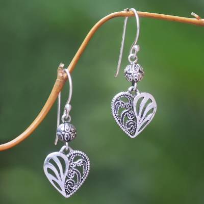 Sterling silver dangle earrings, 'The Other Side' - Sterling Silver Dangle Earrings Heart Shape from Indonesia