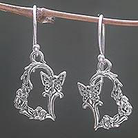 Sterling silver dangle earrings, 'Butterfly Flutter' - Sterling Silver Butterfly Dangle Earrings from Indonesia