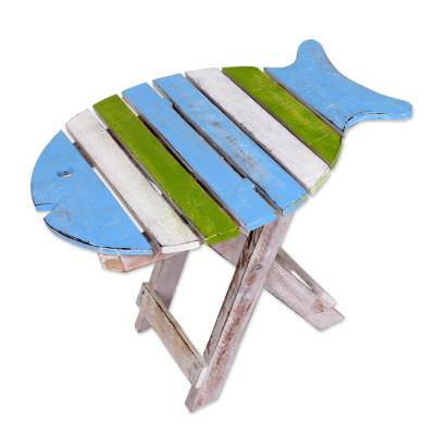 Wood folding accent table, 'Bawal Fish' - Hand Made Wood Folding Table Fish Shape from Indonesia