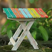 Wood folding accent table, 'Beach-Side Picnic' - Hand Made Muticolor Wood Folding Table from Indonesia