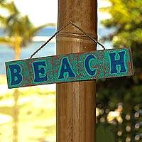 Wood sign, 'Beach in Turquoise and Red' - Hand Carved Beach Wood Sign Agel Grass from Indonesia