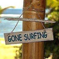 Wood sign, 'Gone Surfing' - Hand Carved Wood Nautical Sign with Grass Cord Indonesia