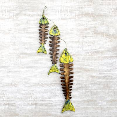 Wood home accent, 'Fish Bones' - Hand Carved Wood Wall Accent Agel Grass from Indonesia