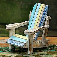Wood decorative accent, 'Beach Chair' - Hand Carved Beach Chair Wood Statue from Indonesia