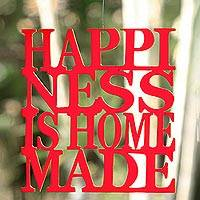 Wood wall art, 'Happiness is Home Made in Red' - Hand Carved Inspirational Wall Art from Indonesia