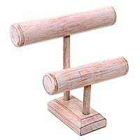 Wood bracelet holder, 'Equilibrium in White' - Handcrafted Wood Bracelet Holder with Double T Bars in White