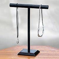Wood jewelry stand, 'Beauty in Black' - Black Artisan Crafted Chinaberry Wood Jewelry Stand