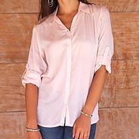 Rayon blouse, 'Tiara in Peach' - Artisan Crafted 100% Rayon Long-Sleeved Blouse in Peach