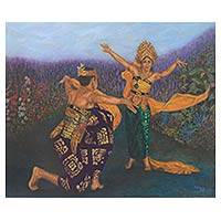 'Oleg Tamulilingan Dance' (2015) - Original Painting Oil on Canvas Love Dance from Indonesia