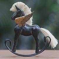 Wood sculpture, 'Flying Horse in Black' - Hand Made Black Rocking Horse Sculpture from Indonesia