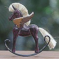 Wood sculpture, 'Flying Horse in Purple' - Hand Made Purple Rocking Horse Sculpture from Indonesia