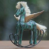 Wood sculpture, 'Flying Horse in Green' - Hand Made Green Rocking Horse Sculpture from Indonesia