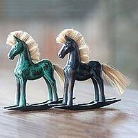 Wood sculptures, 'Green and Blue Horses' (pair) - Hand Made Wood Sculptures Pair of Rocking Horses Indonesia