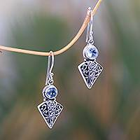 Blue topaz dangle earrings, 'Searching Heart' - Artisan Handcrafted Sterling Silver and Blue Topaz Earrings