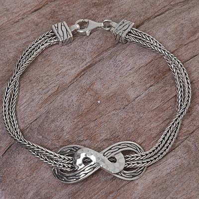 Sterling silver chain bracelet, 'Infinity Mosaic' - Hand Made Sterling Silver Chain Bracelet from Indonesia
