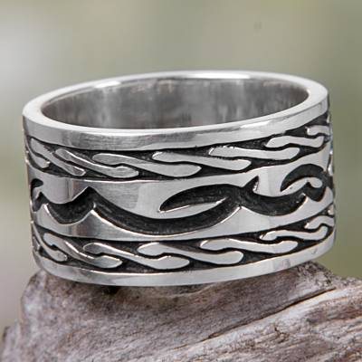 Sterling silver band ring, 'Kuta Wave' - Hand Made Sterling Silver Band Ring from Indonesia