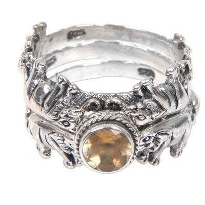 Citrine and Silver Stacking Rings (Set of 3) from Indonesia
