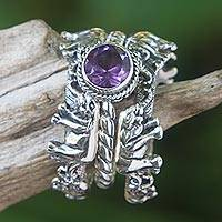 Amethyst and sterling silver stacking rings, 'Elephant Shrine' (set of 3) - Amethyst and Silver Stacking Rings (Set of 3) Indonesia
